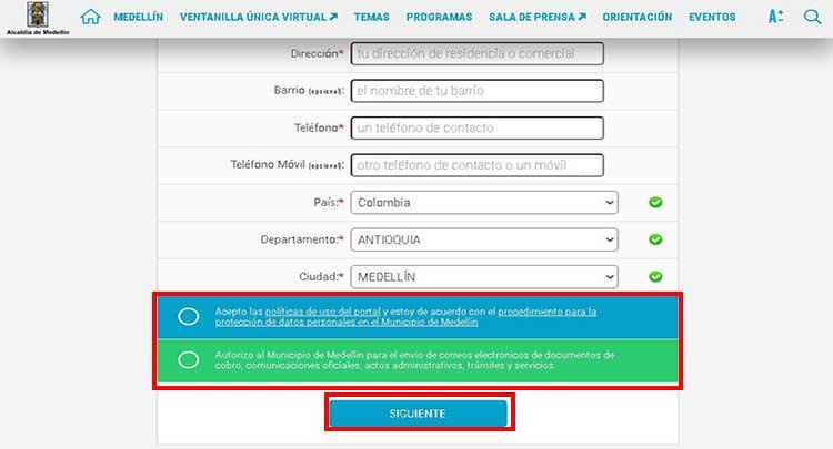 continuación relleno de datos para registro en alcaldia de madellin para consultar impuesto predial