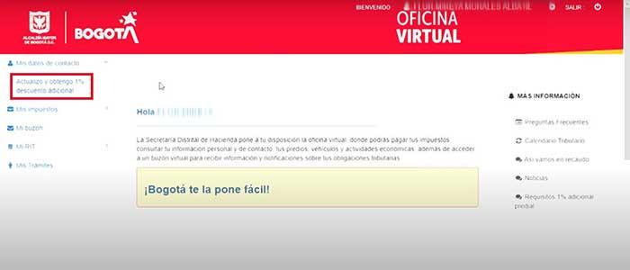 Actualizacion de datos personales en oficina virtual para descuento en pago de impuesto