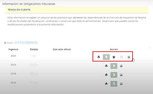 Opcion de Consulta descarga impresion y pago del Impuesto predial Bogotá