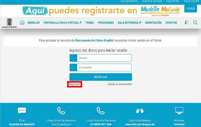 registro o relleno de datos e ingreso a la plataforma de impuesto predial Medellín