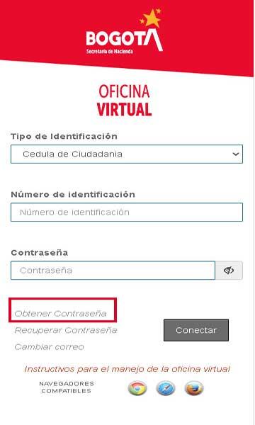 Registro Oficina Virtual Secretaria de hacienda para consultar Impuesto predial