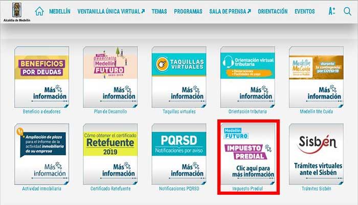 Selección opción de impuesto predial Medellín
