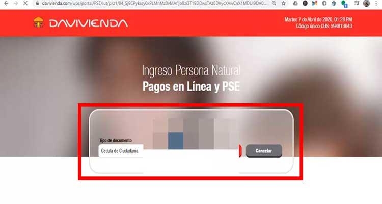 ejemplo portal bancario davivienda para pagar impuesto predial medellin