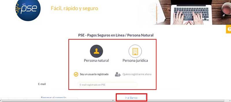 plataforma de PSE para realizar pagos