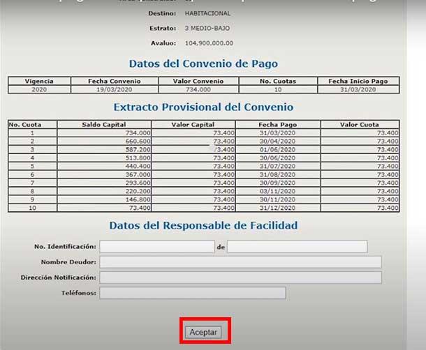 Aceptacion Convenio de Pago Impuesto Predial Barranquilla