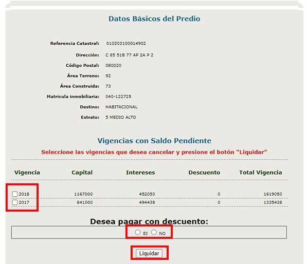 Liquidacion Impuesto Predial Barranquilla