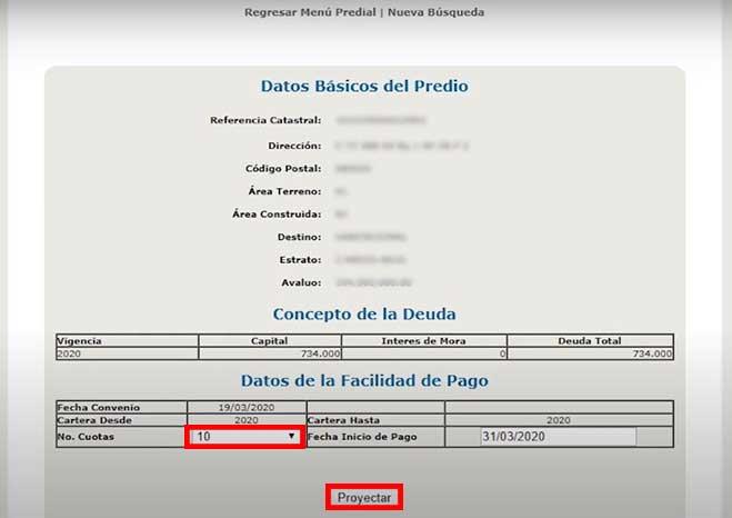 Proyeccion Numeros de Cuotas de Pago Impuesto Predial Barranquilla