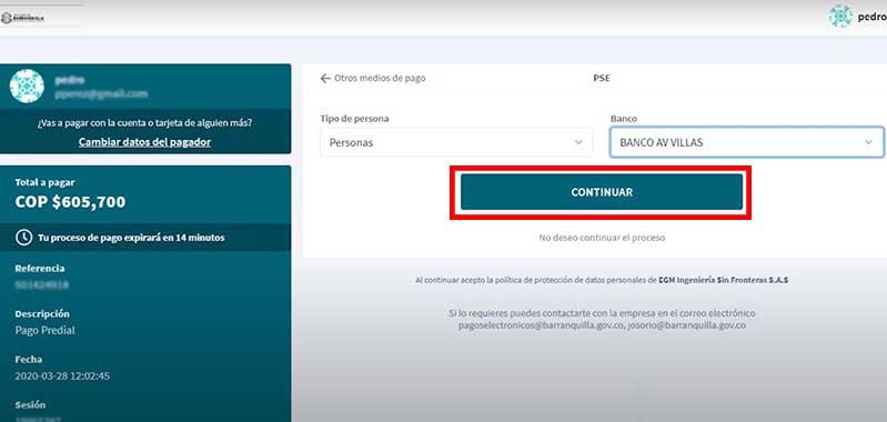 Seleccion de banco metodo de Pago PSE factura de impuesto predial Barranquilla