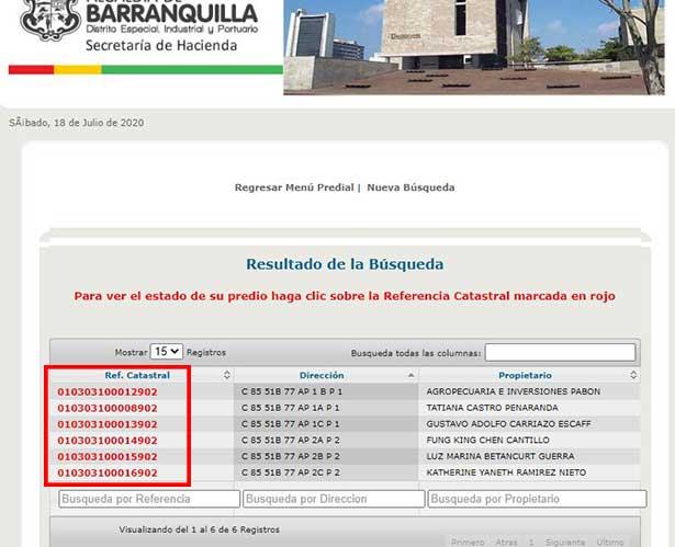 Seleccion de Referencia Catastral Impuesto Predial Barranquilla