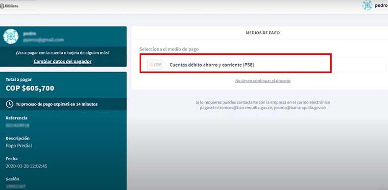 Seleccion metodo dePago PSE factura de impuesto predial Barranquilla