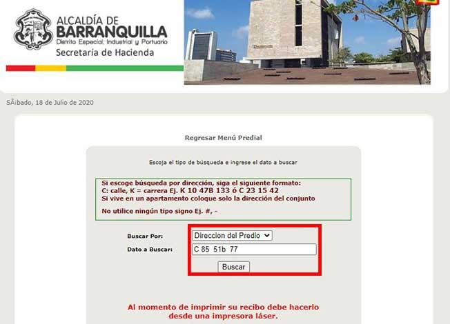 Tipo de busqueda Impuesto Predial Barranquilla