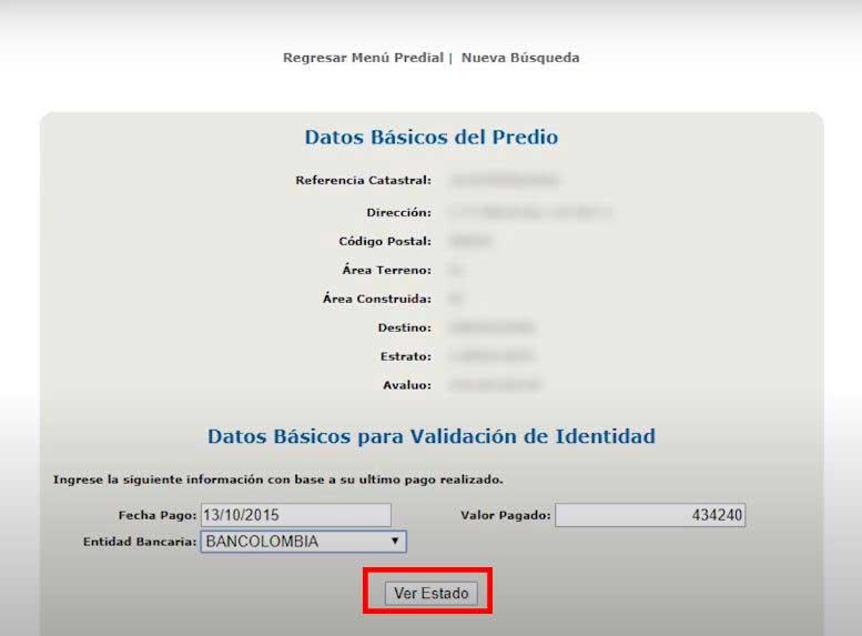 Verificacion de Datos Basicos para Solicitar Convenio de Pagos Impuesto Predial Barranquilla