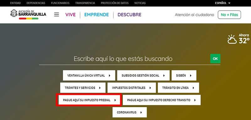 Ingreso Pagina web Alcaldia Barranquilla Impuesto Predial