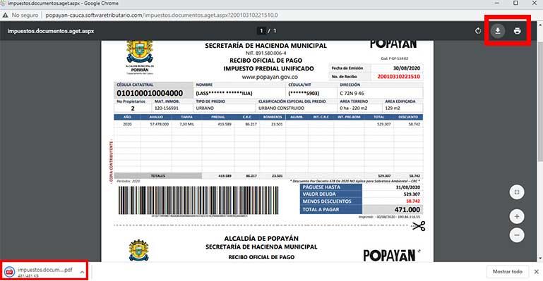 Factura Impuesto Predial Popayan