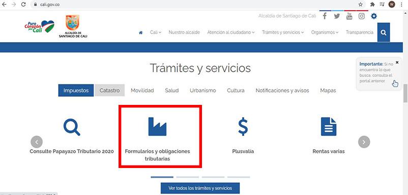 Formularios y Obligaciones Tributarias Impuesto Predial Cali