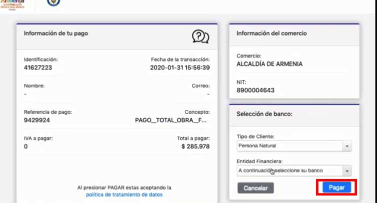 Informacion Pago En Linea Factura Impuesto Predial Armenia