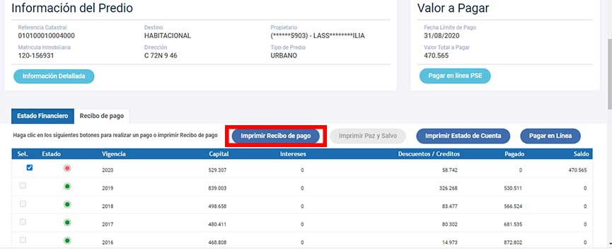 Informacion del Predio Impuesto Predial Alcaldia de Popayan