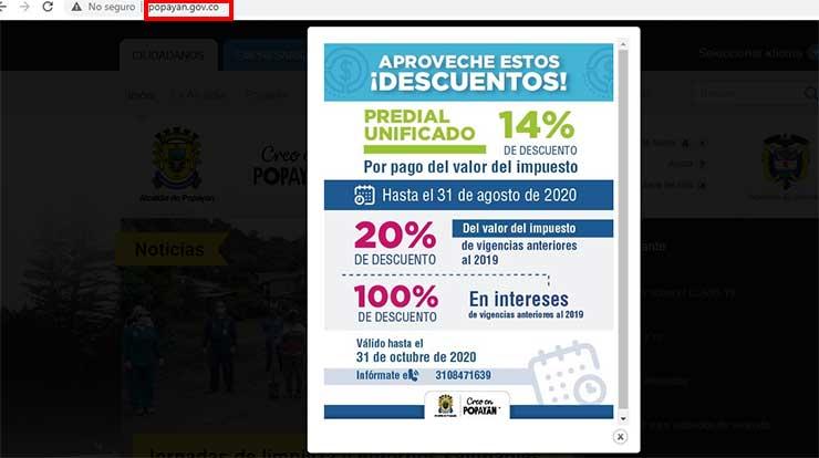 Ingreso Pagina Alcaldia de Popayan Impuesto Predial