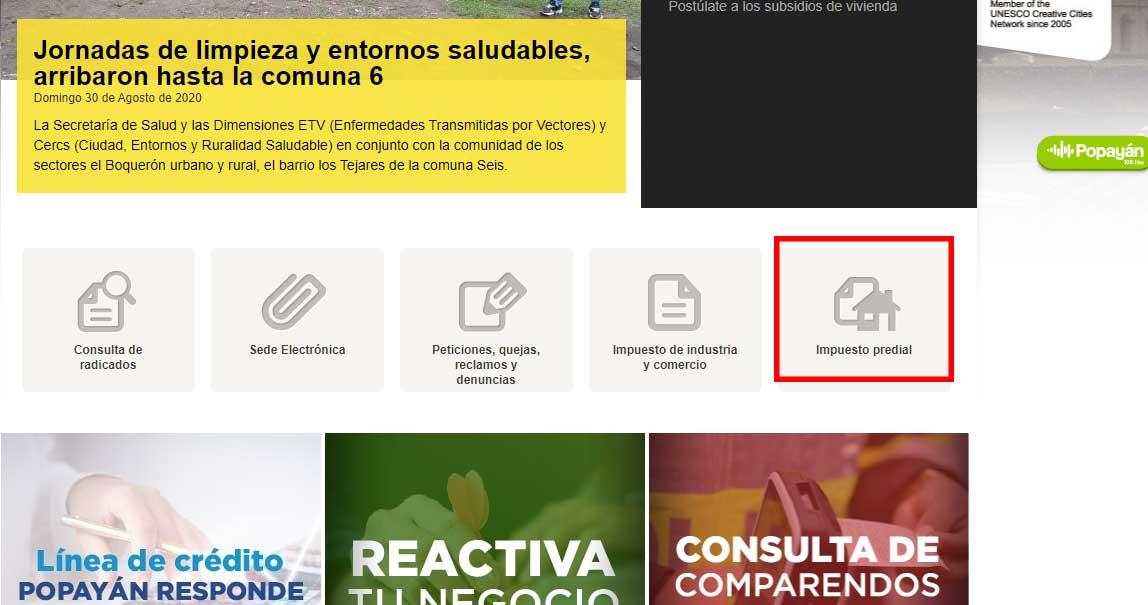 Opcion Impuesto Predial Alcaldia de Popayan