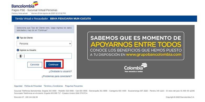 Pago por PSE Bancolombia Impuesto Predial Cucuta
