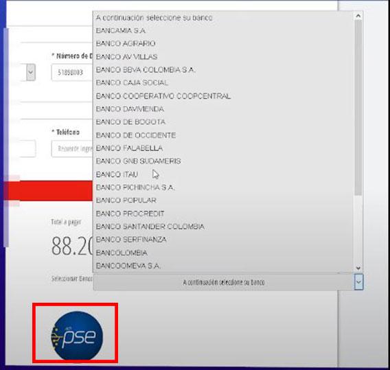 Seleccion Banco Portal PSE para Pagar Impuesto Predial Soacha