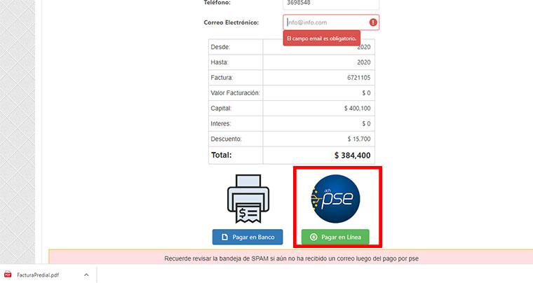 Seleccion Pago en Linea Factura Impuesto Predial Cucuta