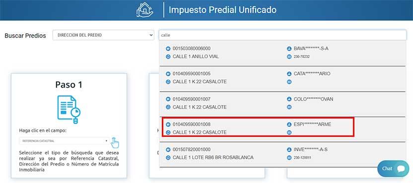 Busqueda Impuesto Predial Villavicencio