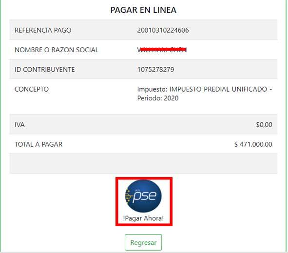 Click Boton PSE Pagp em Linea Impuesto Predial Popayan