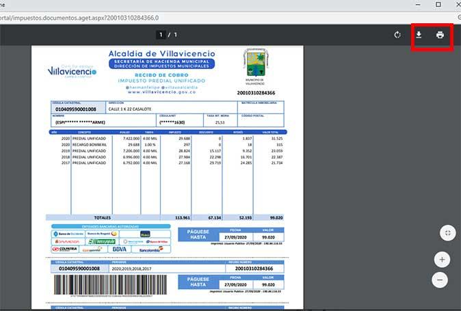 Descarga Impuesto Predial Villavicencio