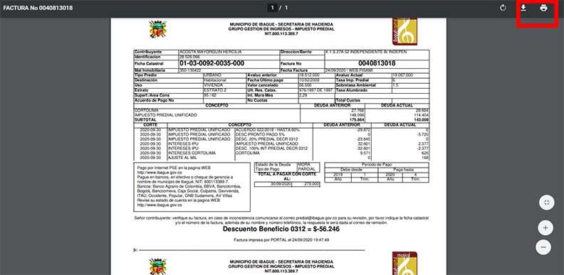 Factura Impuesto Predial Ibague