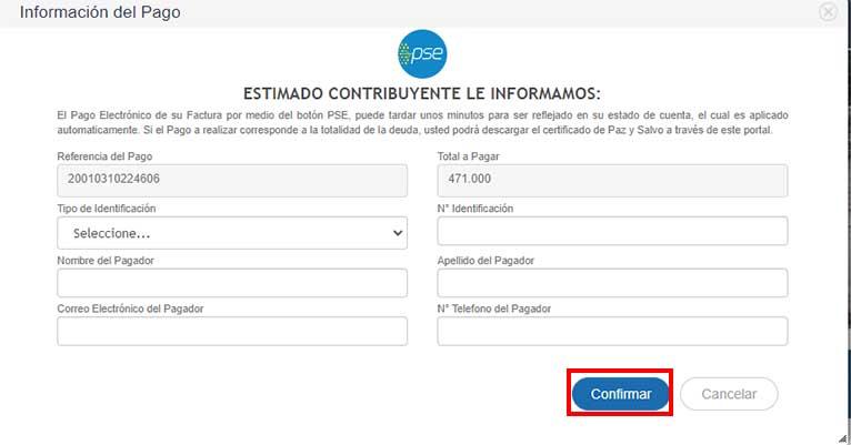 Informacion de Pago PSE Impuesto Predial Popayan