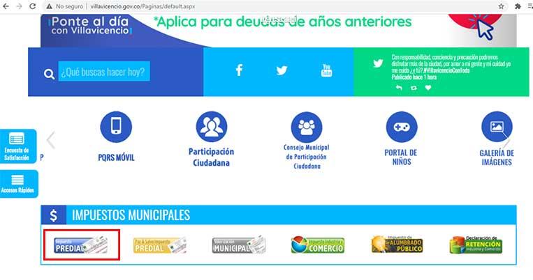 Ingreso Pagina Alcaldia Villavicencio Impuesto Predial