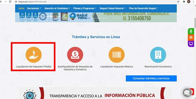Ingreso Pagina Web Alcaldia Ibague