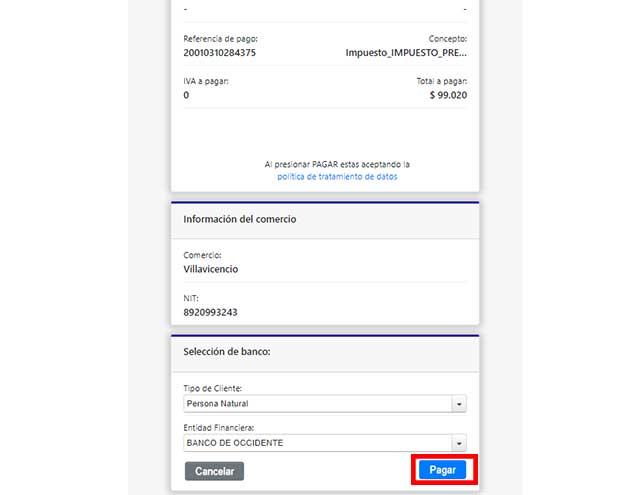 PSE Pago Impuesto Predial Villavicencio