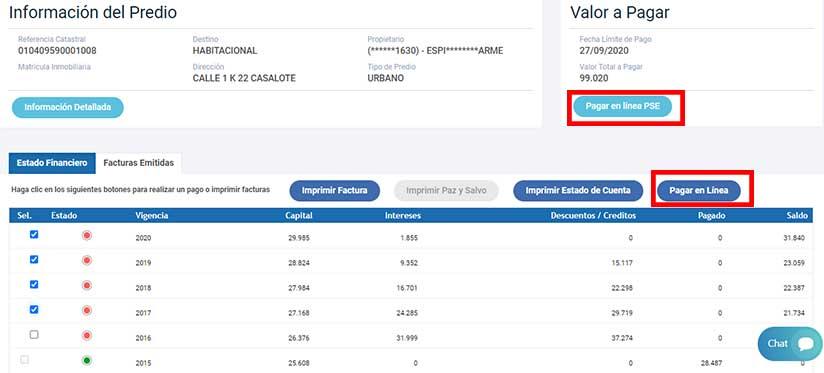 Pagar en linea Impuesto Predial Villavicencio