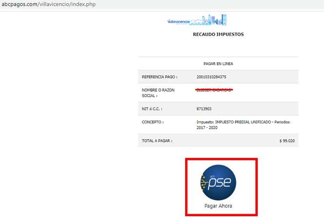 Pago Por PSE Impuesto Predial Villavicencio