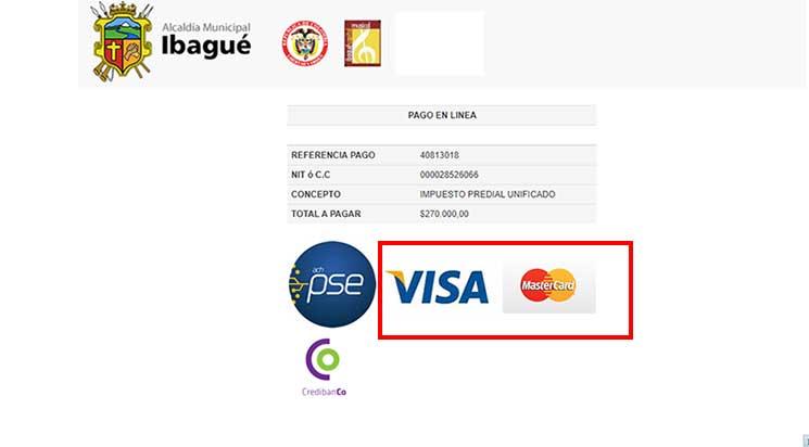Pago Por Tarjeta de Credito Visa MasterCard Impuesto Predial Ibague