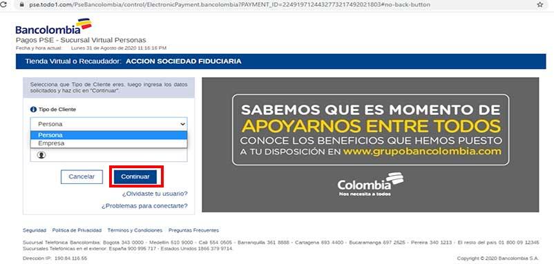 Psgo PSE Bancolombia Impuesto Predial