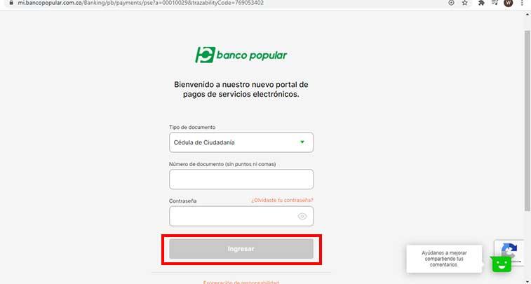 Pago Por PSE Banco Popular