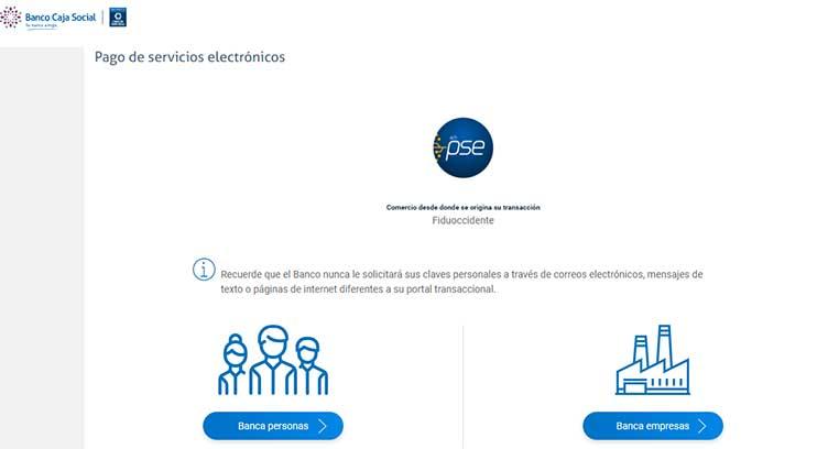 Pagos PSE Banco Caja Social