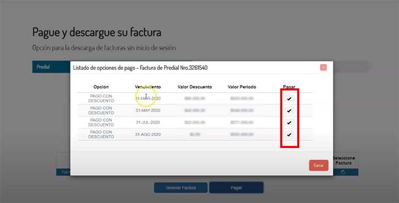 Seleccion Vigencia de Pago Impuesto Predial Tunja