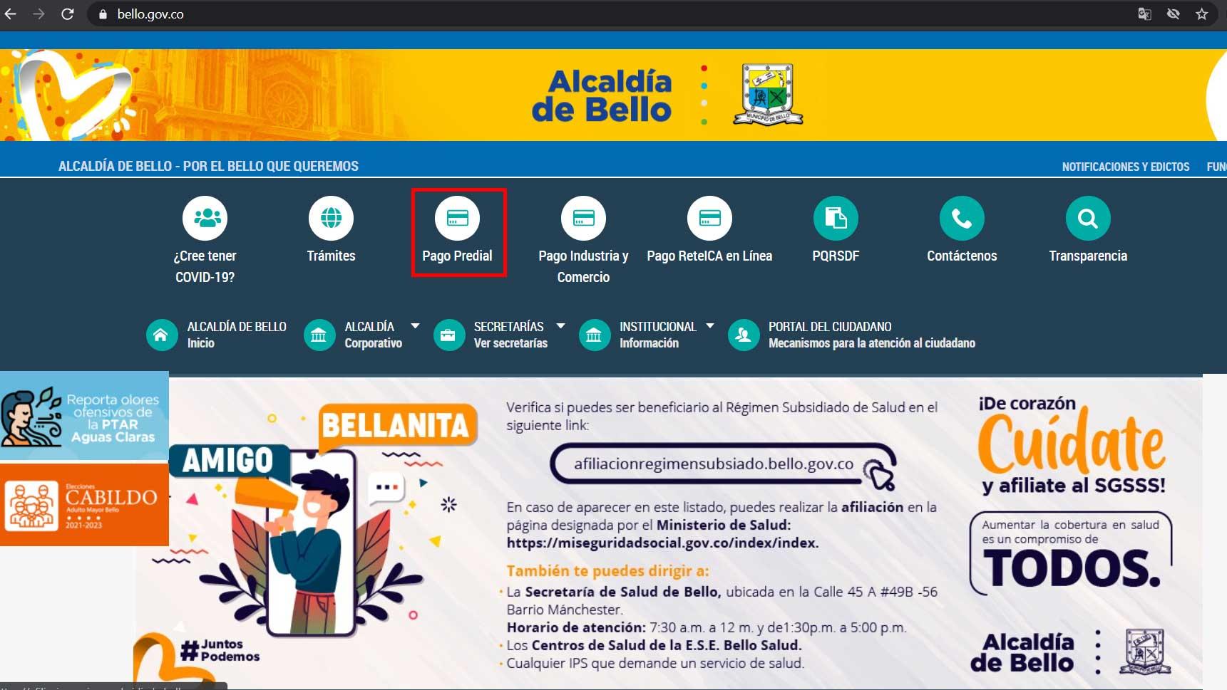 Ingreso Portal Web Alcaldia bello Impuesto Predial