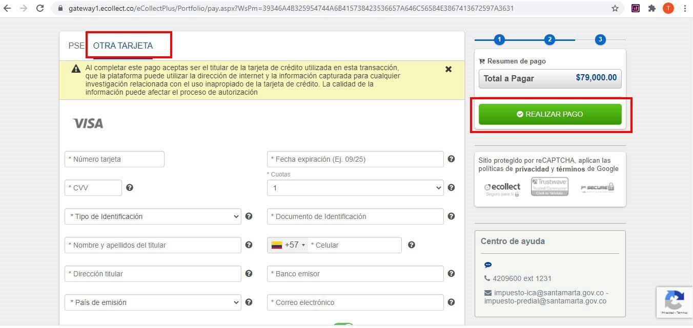 Metodo de Pago Tarjeta Credito Impuesto Predial Santa Marta