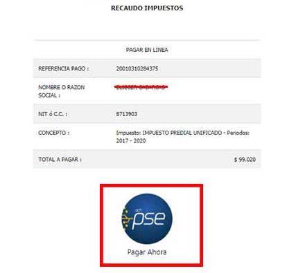 Pagar en Linea PSE Impuesto Predial Buenaventura