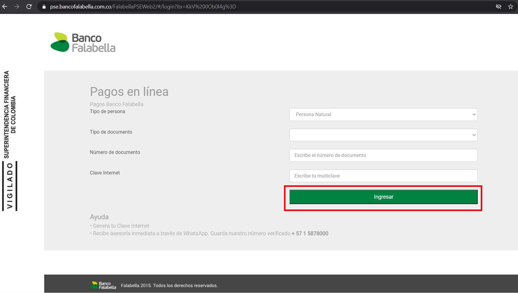 Pago Por PSE Banco Falabella