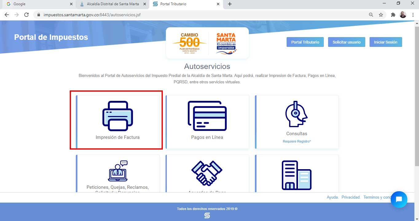 Seleccion Opcion Impresion Factura Impuesto Predial Unificado Santa Marta