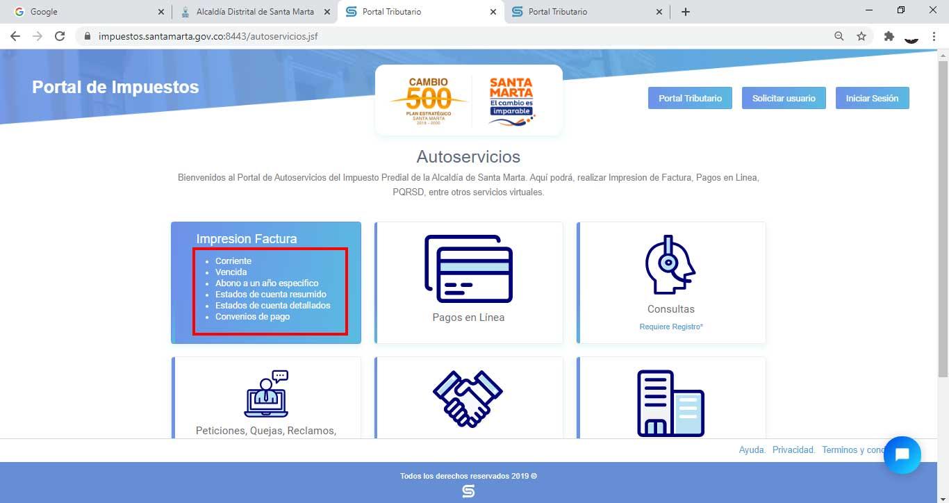 Seleccion Opcion Imprimir Tipo Factura Impuesto Predial Unificado Santa Marta