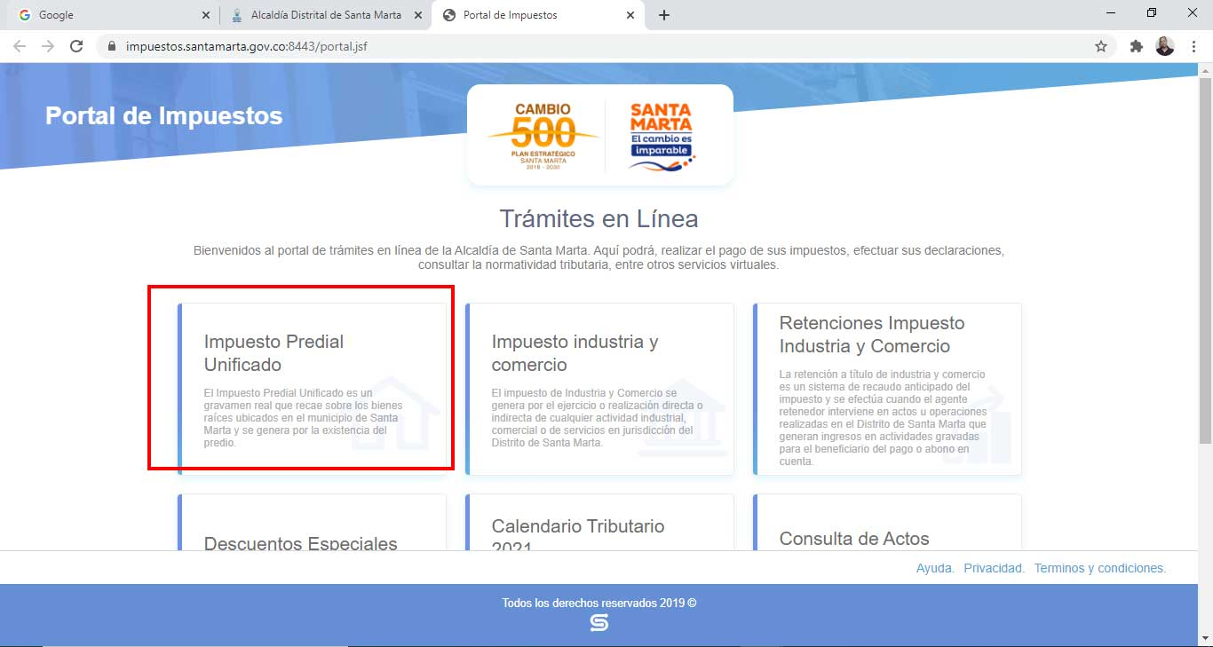 Seleccion Opcion Impuesto Predial Unificado Santa Marta