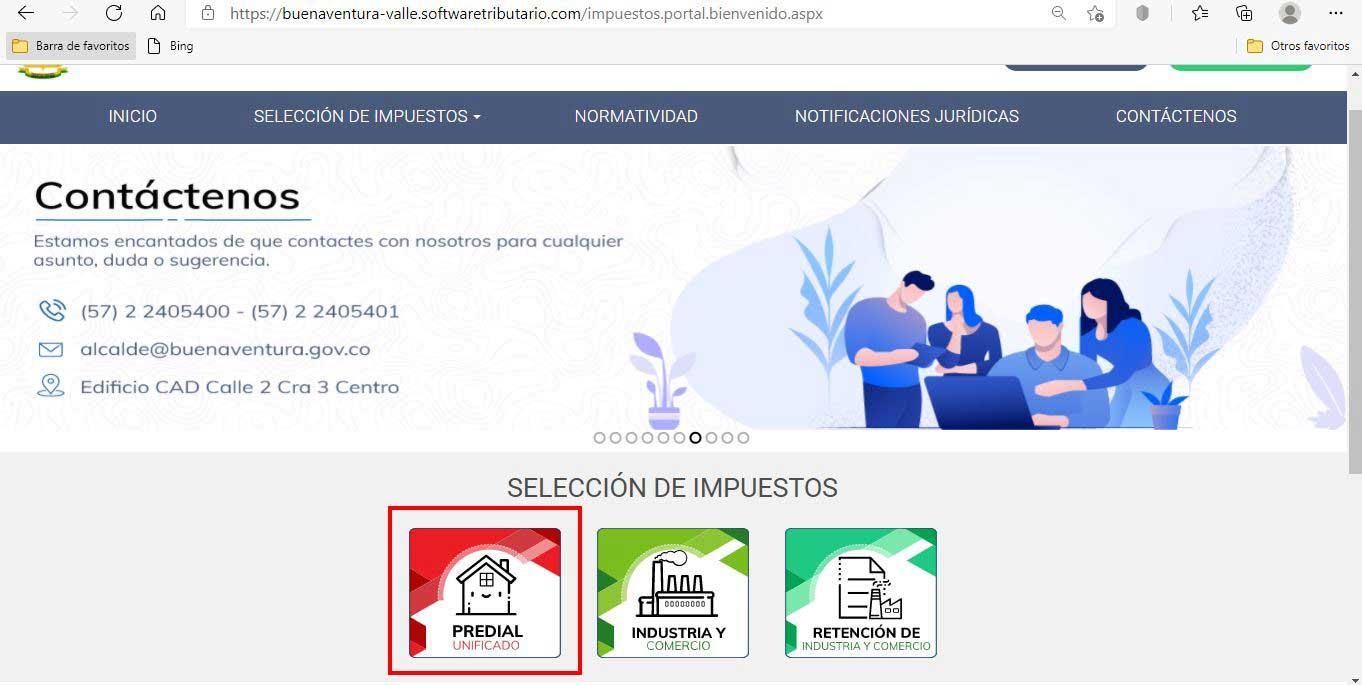 Seleccion de Impuesto Predial Buenaventura