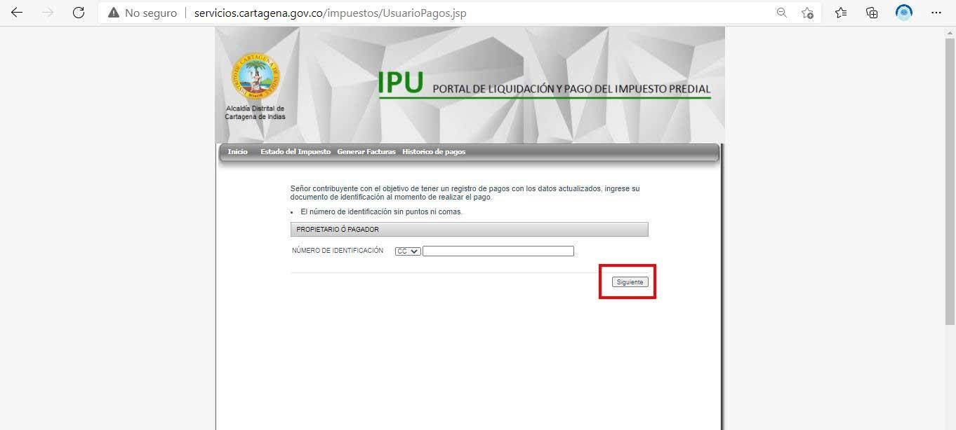 Confirmacion dato pagador Impuesto Predial Cartagena